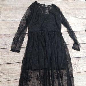 NWOT Shein L black lace maxi dress
